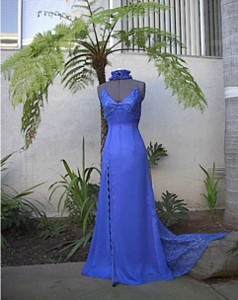 $~380 blue chiffon and beaded lace gown with tie back and beaded fringe trim and garter