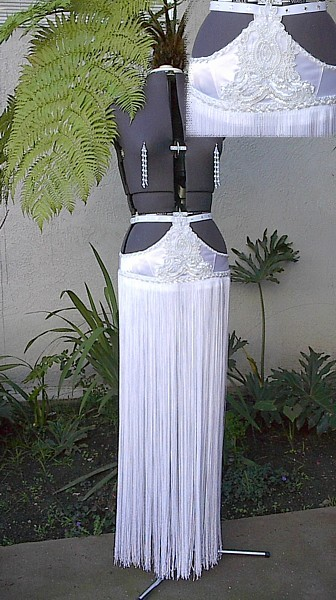 $210 white 36 inch fringe skirt